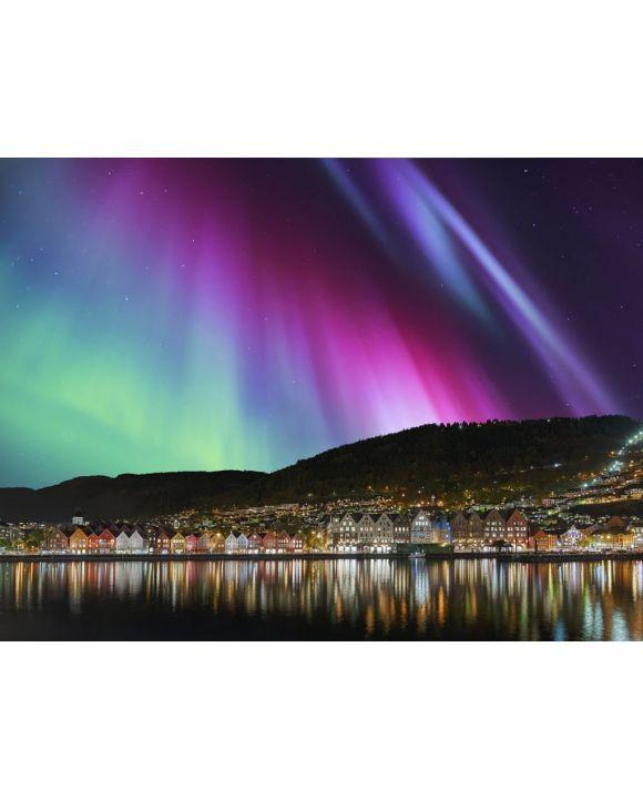 Lais Puzzle - Bergen Norwegen mit Nordlicht - 100, 200, 500, 1.000 & 2.000 Teile