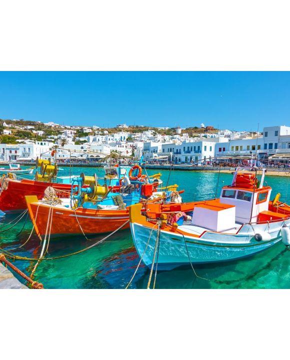 Lais Puzzle - Hafen mit Booten in Mykonos - 100, 200, 500, 1.000 & 2.000 Teile