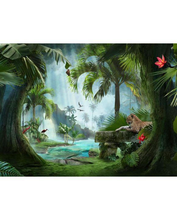 Lais Puzzle - Wunderschöner Blick auf eine Lagune des Dschungels mit Jaguar, Palmen und tropischen Blättern - 100, 200, 500, 1.000 & 2.000 Teile