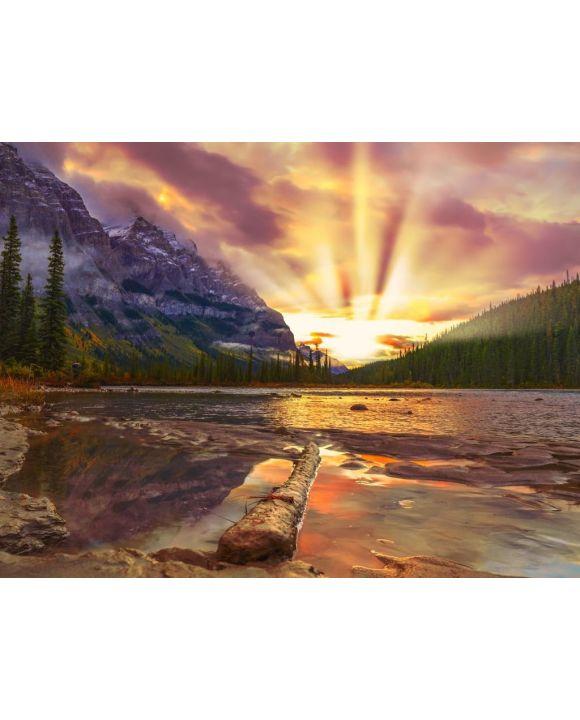 Lais Puzzle - Farbenfroher Sonnenaufgang über Bergen mit Bergfluss - 100, 200, 500, 1.000 & 2.000 Teile