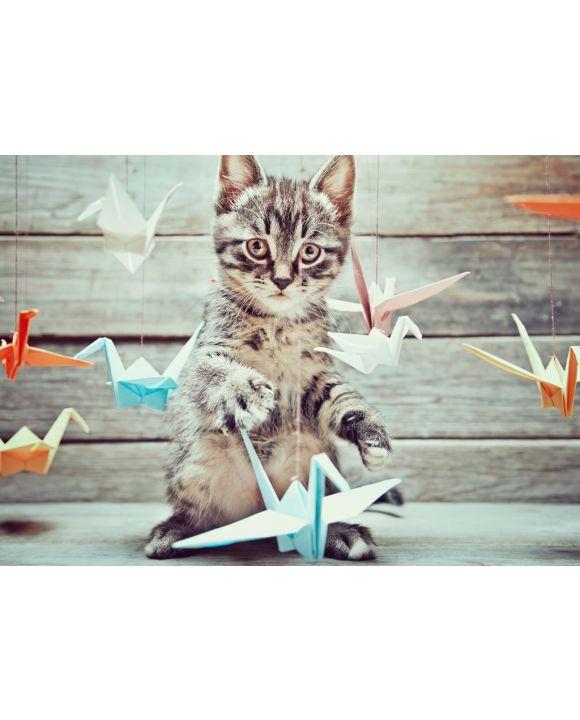 Lais Puzzle - Kleine Katze spielt mit bunten Papierkränen - 100, 200, 500 & 1.000 Teile