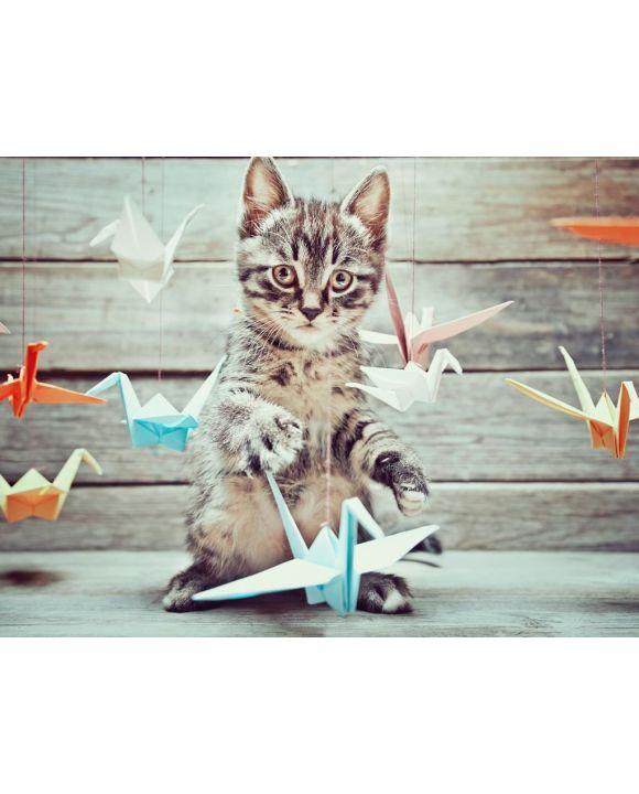 Lais Puzzle - Kleine Katze spielt mit bunten Papierkränen - 500 & 1.000 Teile