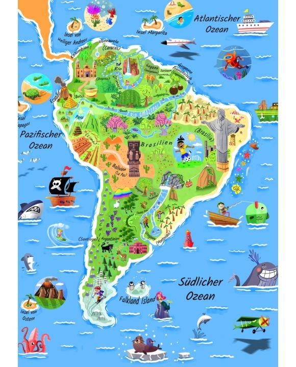 Lais Puzzle - Karte Südamerika in deutsch - 100, 200, 500 & 1.000 Teile