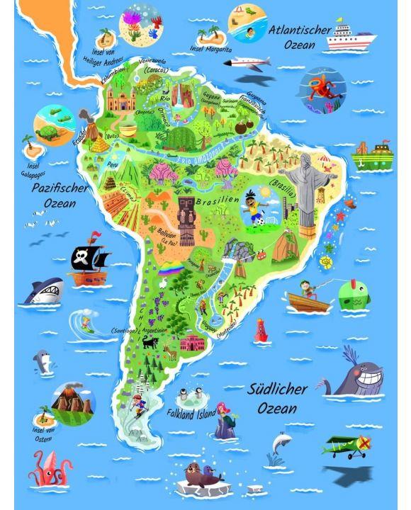 Lais Puzzle - Karte Südamerika in deutsch - 100, 200, 500, 1.000 & 2.000 Teile