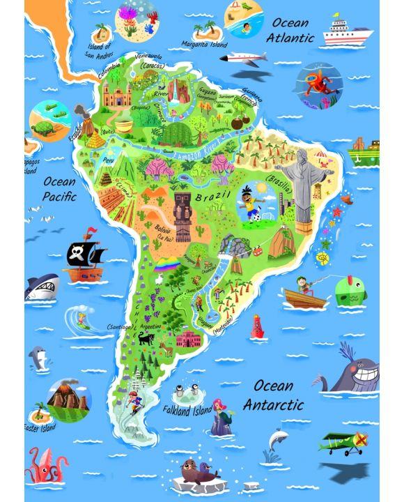 Lais Puzzle - Karte Südamerika in englisch - 100, 200, 500 & 1.000 Teile