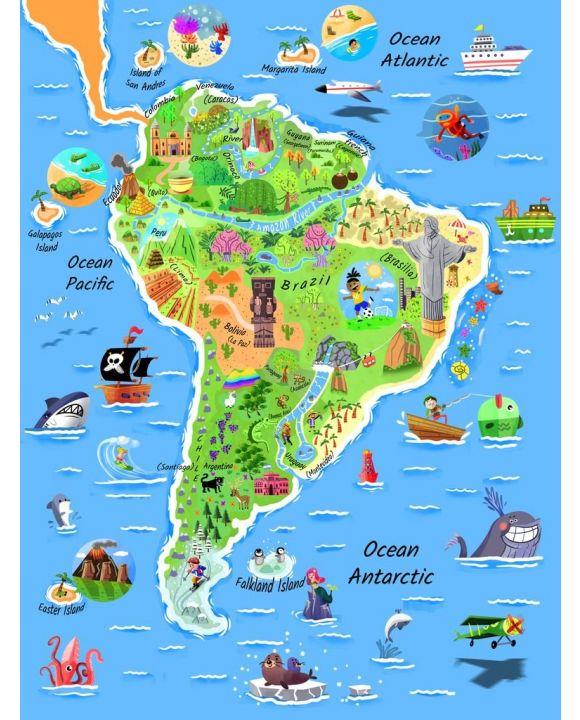 Lais Puzzle - Karte Südamerika in englisch - 100, 200, 500, 1.000 & 2.000 Teile