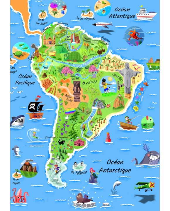 Lais Puzzle - Karte Südamerika in französisch - 100, 200, 500 & 1.000 Teile