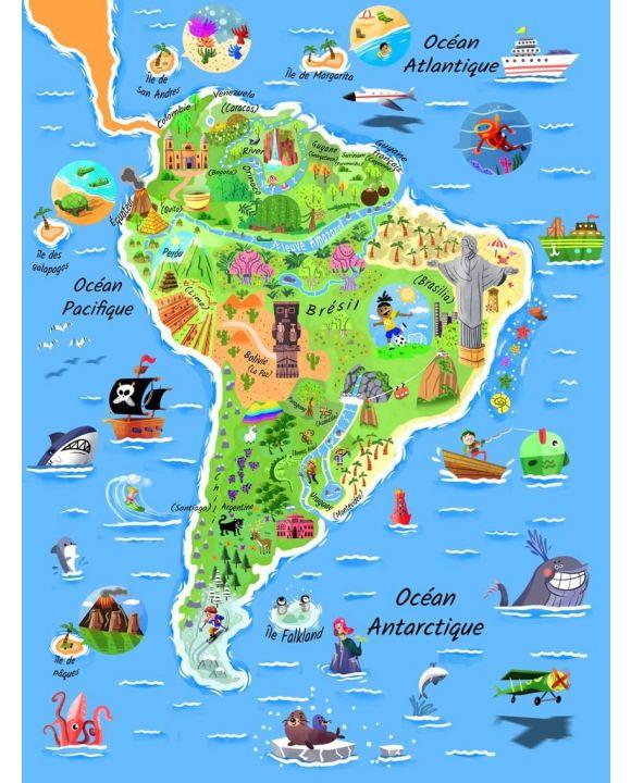 Lais Puzzle - Karte Südamerika in französisch - 100, 200, 500, 1.000 & 2.000 Teile