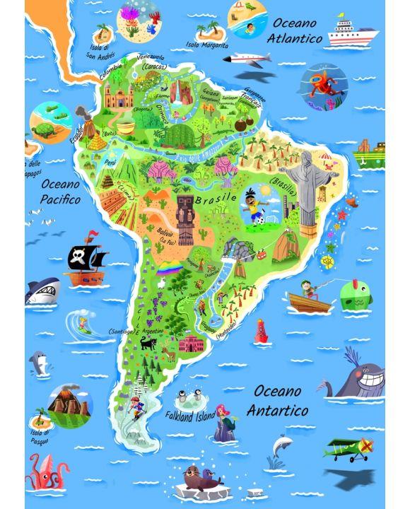 Lais Puzzle - Karte Südamerika in italienisch - 100, 200, 500 & 1.000 Teile