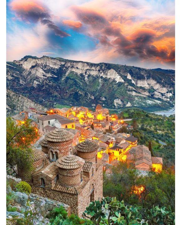 Lais Puzzle - Sonnenaufgang über dem alten berühmten mittelalterlichen Dorf Stilo in Kalabrien - 100, 200, 500, 1.000 & 2.000 Teile