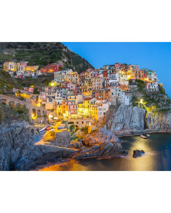 Lais Puzzle - Manarola, Dorf eins von Cinque Terre, in der Nacht in La Spezia, Italien - 100, 200, 500, 1.000 & 2.000 Teile