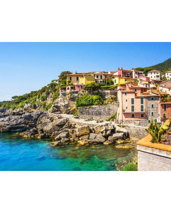 Lais Puzzle - Panoramablick auf schöne bunte Häuser des Tellaro-Dorfes, Lerici, La Spezia, Italien - 100, 200, 500, 1.000 & 2.000 Teile