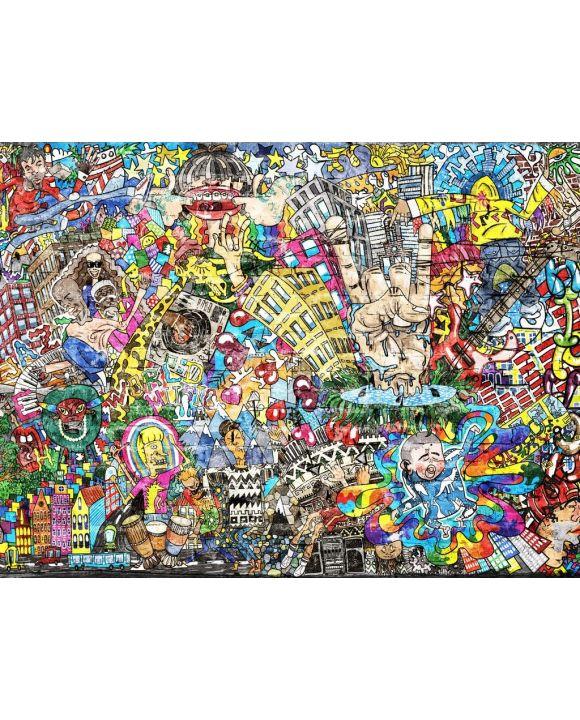 Lais Puzzle - Coole Musik-Graffiti im urbanen Stil an der Wand - 500 & 1.000 Teile