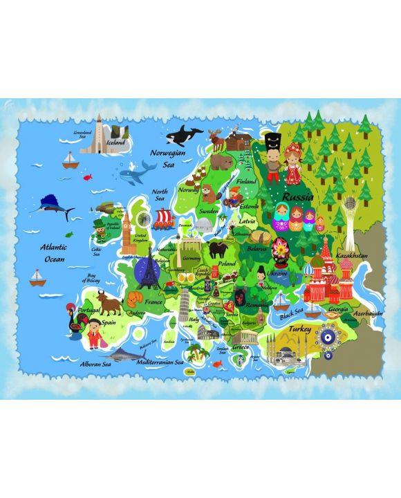 Lais Puzzle - Karte Europa in englisch - 500 & 1.000 Teile