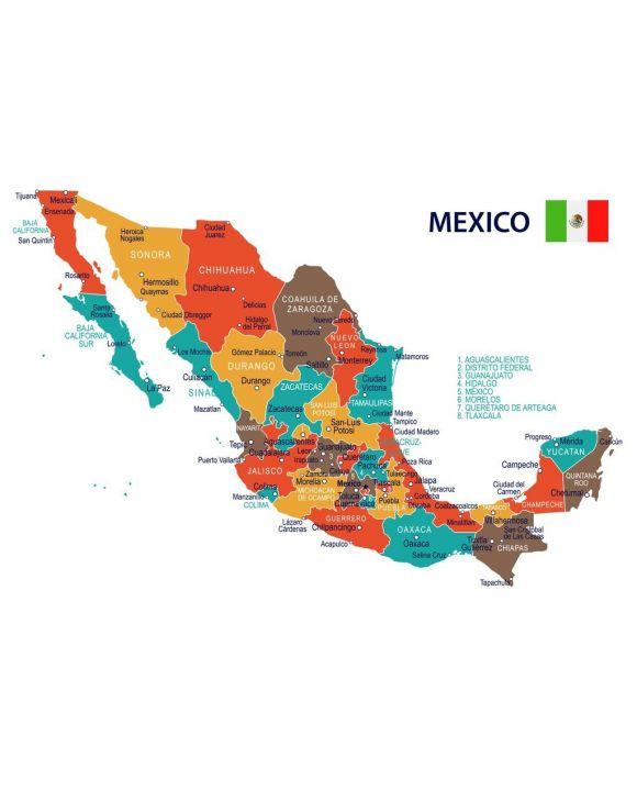 Lais Puzzle - Mexiko - Karte und Flagge  - 500 & 1.000 Teile
