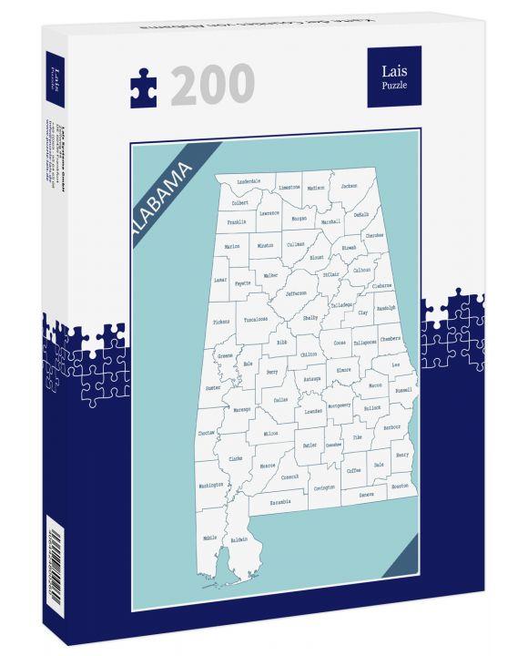 Lais Puzzle - Karte der Counties von Alabama - 200 Teile