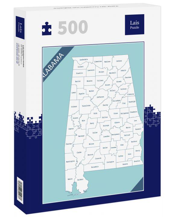 Lais Puzzle - Karte der Counties von Alabama - 500 Teile