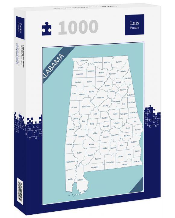 Lais Puzzle - Karte der Counties von Alabama - 1.000 Teile