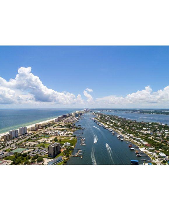 Lais Puzzle - Luftaufnahme der Insel Ono, Alabama und des Strandes von Perdido, Florida - 500 & 1.000 Teile