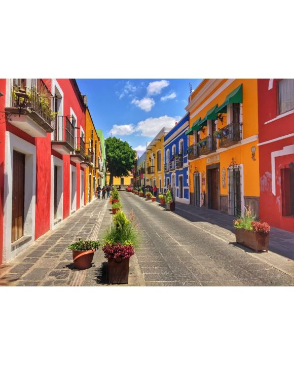 Lais Puzzle - Koloniale Straße in Puebla City, Mexiko - 500 & 1.000 Teile