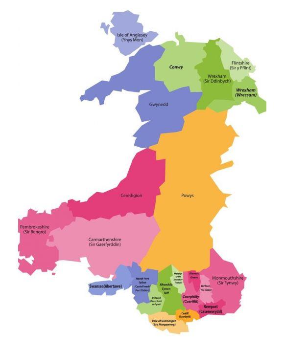 Lais Puzzle - Karte von Wales nach Counties - 500 & 1.000 Teile