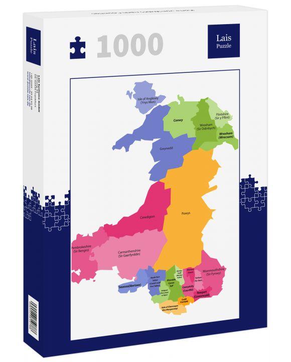 Lais Puzzle - Karte von Wales nach Counties - 1.000 Teile