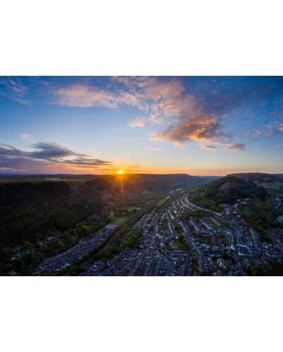 Lais Puzzle - schöne Luftaufnahme der Landschaft bei Sonnenuntergang (Südwales Abertillery) - 500 & 1.000 Teile