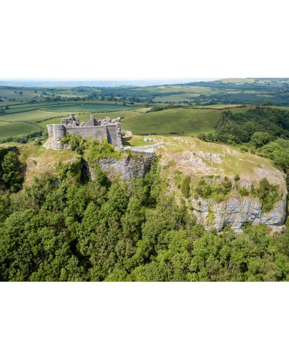 Lais Puzzle - Luftaufnahme der Ruinen einer alten Burg auf einem Hügel (Carreg Cennen, Wales, Großbritannien) - 500 & 1.000 Teile