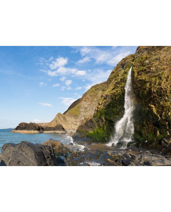 Lais Puzzle - Wasserfall am Tresaith Beach, Cardigan Bay, Wales - 500 & 1.000 Teile