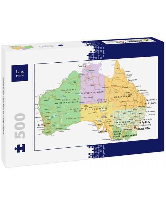 Lais Puzzle - Australien - Karte des Kontinents - 500 Teile