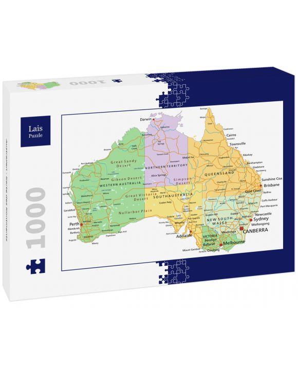 Lais Puzzle - Australien - Karte des Kontinents - 1.000 Teile