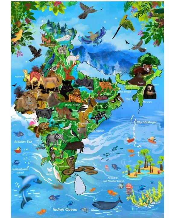 Lais Puzzle - Karte Indien aus Tieren - 500 & 1.000 Teile