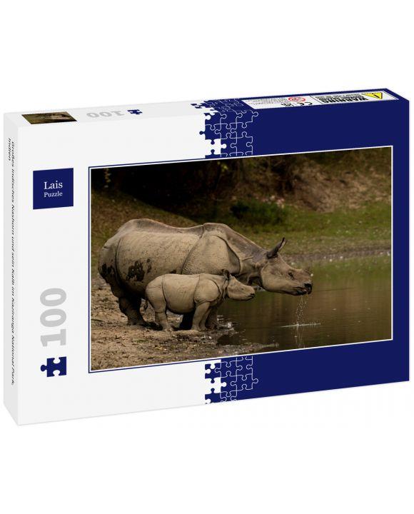 Lais Puzzle - Großes Indisches Nashorn und sein Kalb im Kaziranga National Park, Indien - 100 Teile
