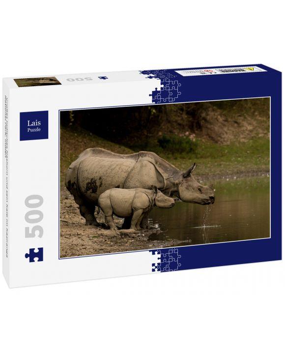 Lais Puzzle - Großes Indisches Nashorn und sein Kalb im Kaziranga National Park, Indien - 500 Teile