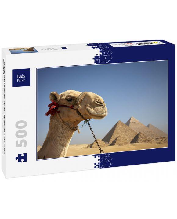 Lais Puzzle - Porträt eines Kamels vor den Pyramiden von Gizeh, Ägypten - 500 Teile