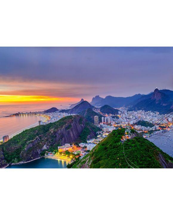 Lais Puzzle - Blick bei Sonnenuntergang auf Copacabana, Corcovado und Botafogo in Rio de Janeiro. Brasilien - 500 & 1.000 Teile