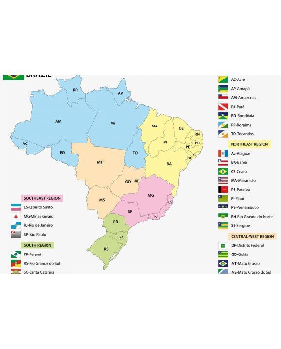 Lais Puzzle - Karte der brasilianischen Staaten mit Flaggen - 500 & 1.000 Teile