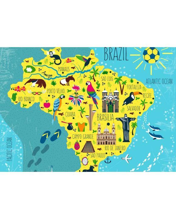 Lais Puzzle - Brasilien illustrierte Landkarte, Südamerika, mit Wahrzeichen, Museum, Kirche, traditionellem Essen, brasilianischem Karneval, Tieren und Blumen - 500 & 1.000 Teile