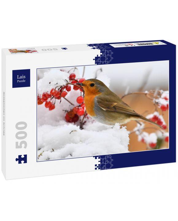 Lais Puzzle - Rotkehlchen im Schnee - 500 Teile