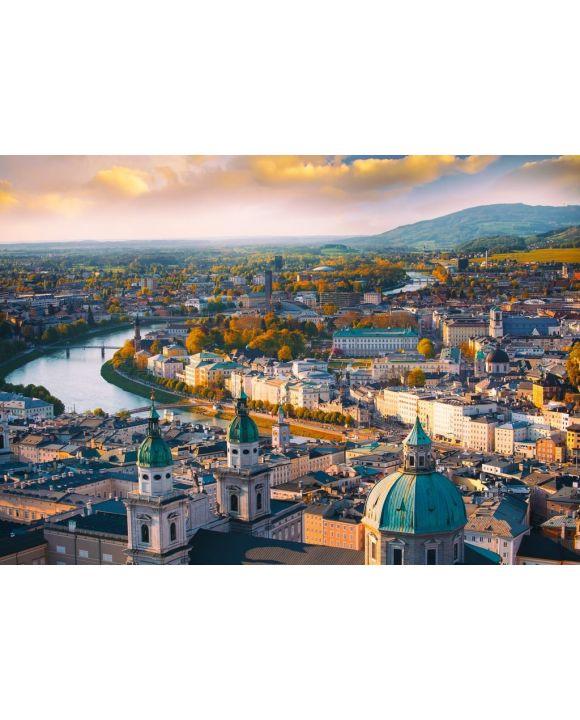 Lais Puzzle - Panoramablick der historischen Stadt Salzburg mit Salzach Fluss in schönem Sonnenuntergang, Salzburger Land, Österreich - 500 & 1.000 Teile