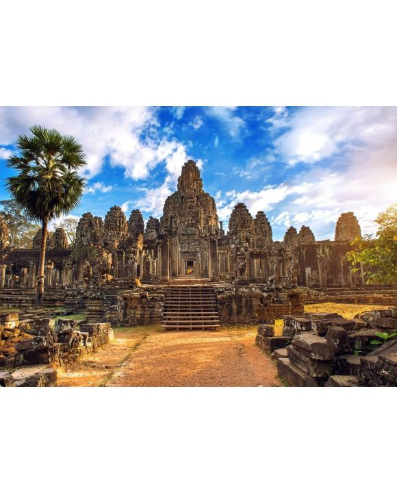 Lais Puzzle - Antike Steingesichter bei Sonnenuntergang des Bayon-Tempels, Angkor Wat - 500 & 1.000 Teile