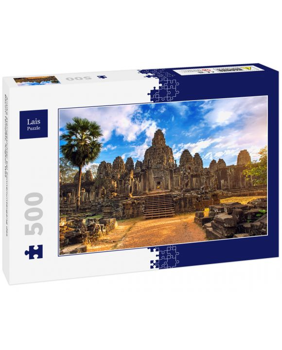 Lais Puzzle - Antike Steingesichter bei Sonnenuntergang des Bayon-Tempels, Angkor Wat - 500 Teile