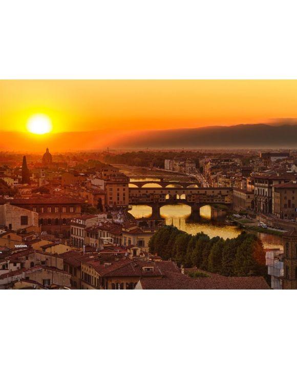 Lais Puzzle - Florenz, Fluss Arno und Ponte Vecchio bei Sonnenuntergang, Italien - 500 & 1.000 Teile