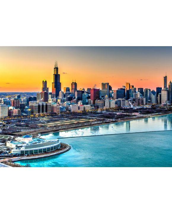 Lais Puzzle - Sonnenuntergang Chicago - 500 & 1.000 Teile
