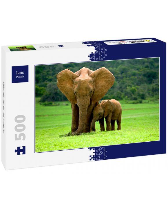 Lais Puzzle - Elefantenmutter mit Jungtier - 500 Teile