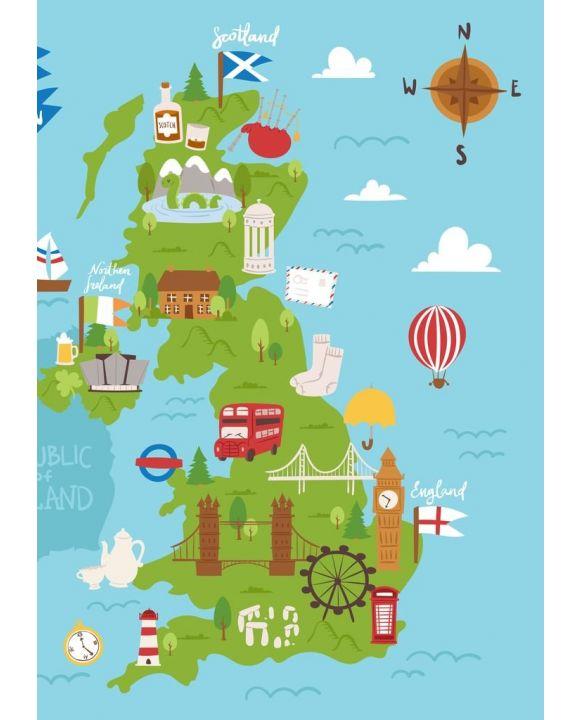 Lais Puzzle - Vereinigtes Königreich Großbritannien und Nordirland Karte Reise Stadt Tourismus Transport auf blauen Ozean Europa Kartographie und nationale Wahrzeichen - 500 & 1.000 Teile