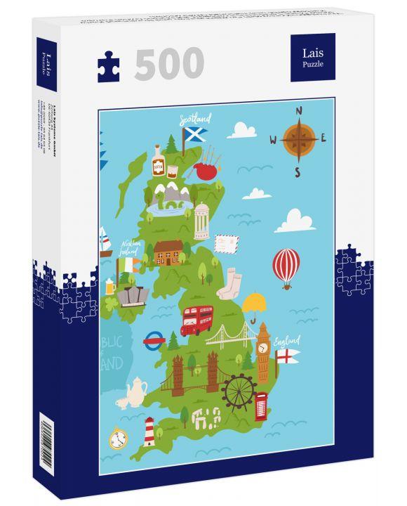 Lais Puzzle - Vereinigtes Königreich Großbritannien und Nordirland Karte Reise Stadt Tourismus Transport auf blauen Ozean Europa Kartographie und nationale Wahrzeichen - 500 Teile
