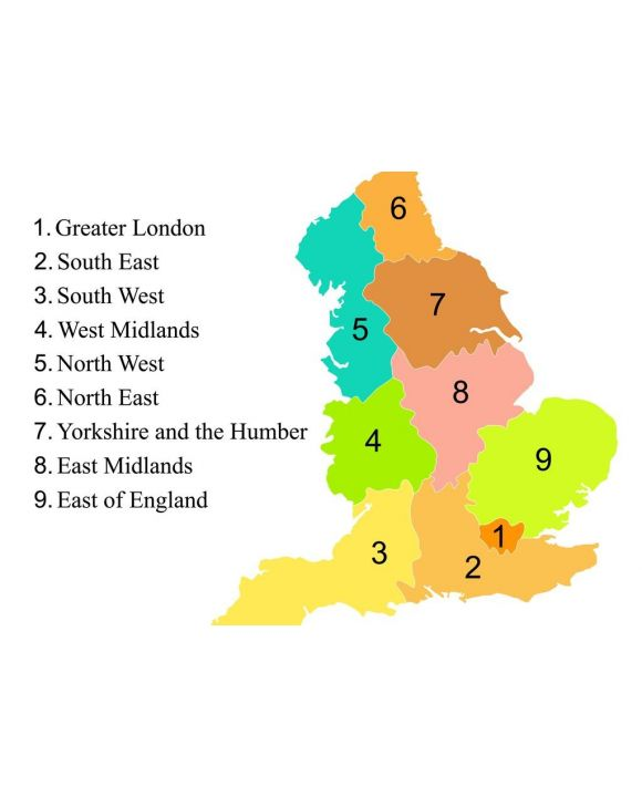 Lais Puzzle - Bunte Karte von England mit Umriss auf weißem Hintergrund - 500 & 1.000 Teile