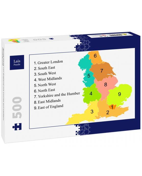Lais Puzzle - Bunte Karte von England mit Umriss auf weißem Hintergrund - 500 Teile
