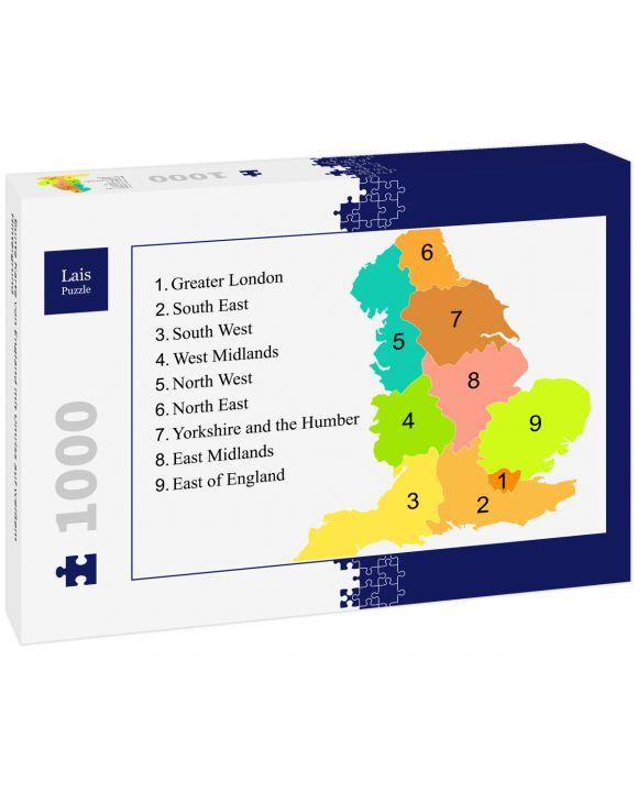 Lais Puzzle - Bunte Karte von England mit Umriss auf weißem Hintergrund - 1.000 Teile